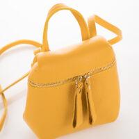 Valódi bőr női oldaltáska sárga színben*