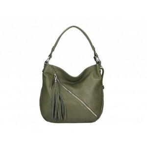Valódi bőr női táska zöld színben S7135 MilitaryGreen
