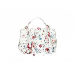 Valódi bőr női táska fehér virágos mintával M9059 FlowerWhite