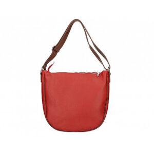 Valódi bőr női táska piros+barna színben S7186 Red+Brown