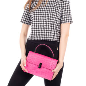 Valódi bőr női táska pink színben