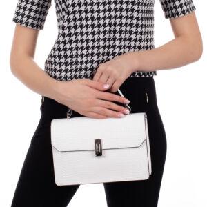 Valódi bőr női táska fehér színben