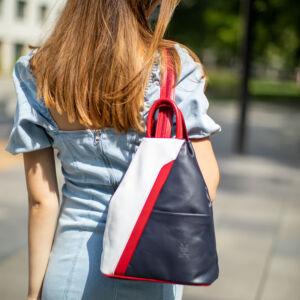Valódi bőr női hátizsák Fehér Kék Piros színben S6925