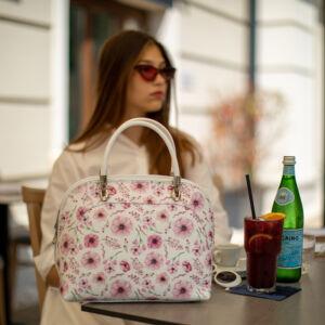 Valódi bőr virágos női táska rose színben