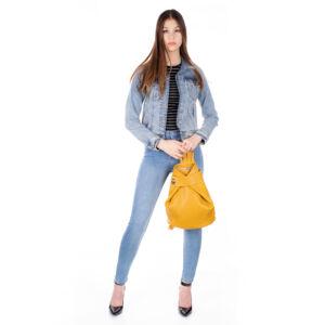 Valódi bőr női hátizsák sárga színben