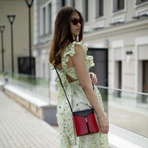 Fairy valódi bőr különleges minőségi női táska piros-fekete színben