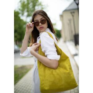 Valódi velúrbőr női táska sárga színben