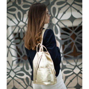 Valódi bőr női hátizsák arany színben