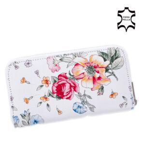 Valódi bőr virágos női pénztárca fehér színben