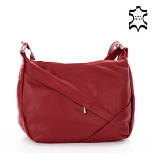 Valódi bőr női táska meggypiros színben
