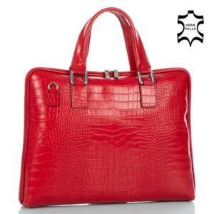 Laptoptartós Valódi bőr  üzleti táska piros színben
