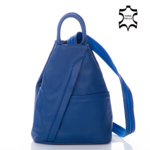 Valódi bőr női hátizsák royalkék színben 6925*