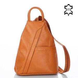 Valódi bőr női hátizsák konyakbarna színben 6925