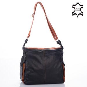 Valódi bőr női táska fekete-világosbarna színben