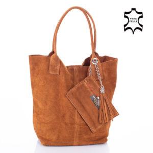 Valódi velúrbőr női táska világosbarna színben