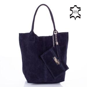 Valódi velúrbőr női táska sötétkék színben