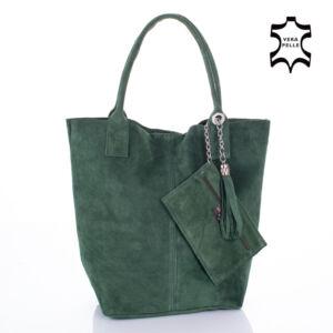 Valódi velúrbőr női táska zöld színben