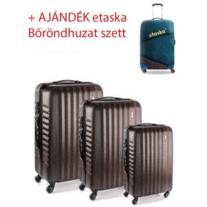Yearz Bőrönd szett Spinner 4 kerekű változat Ribbon 5 év Garanciával Bronze brushed színben + ajándék 3 db-os bőröndhuzat szett