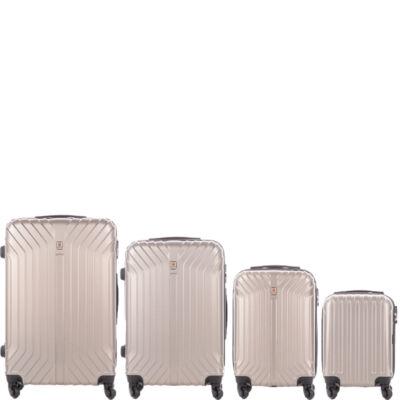 LEONARDO DA VINCI 507 4 db-os bőrönd szett elegáns pezsgő színben
