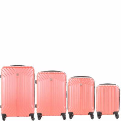 LEONARDO DA VINCI 507 4 db-os bőrönd szett Korall színben