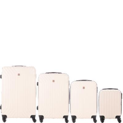 LEONARDO DA VINCI 507 4 db-os bőrönd szett marcipán krém színben