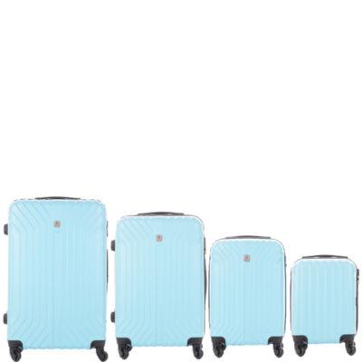 LEONARDO DA VINCI 507 4 db-os bőrönd szett víz kék színben