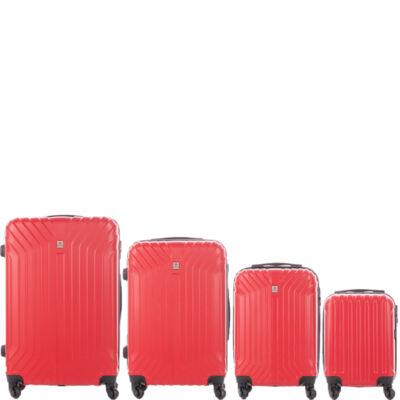 LEONARDO DA VINCI 507 4 db-os bőrönd szett ribizli piros színben