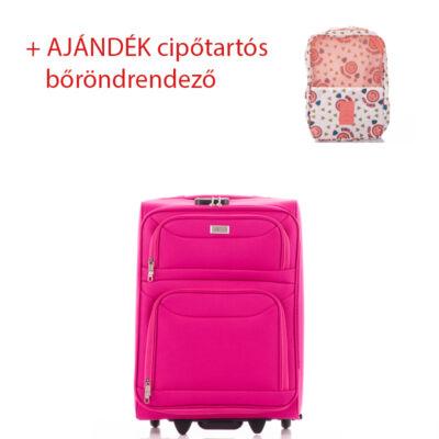 Bőrönd kabin méret 6802 Pink színben RYANAIR ÚJ WIZZAIR méret