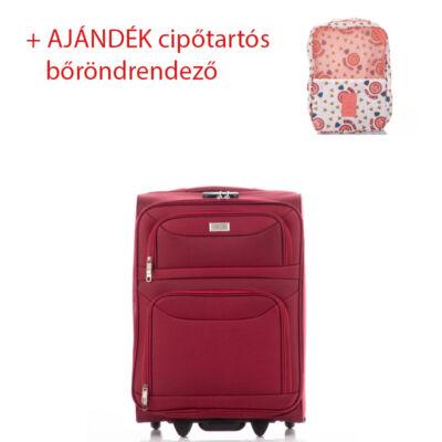 Bőrönd kabin méret 6802 Bordó színben RYANAIR ÚJ WIZZAIR méret