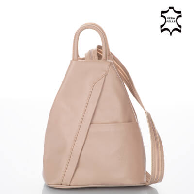 Valódi bőr női hátizsák púder színben S6925