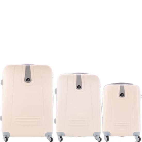 3 db-os bőrönd szett fehér színben
