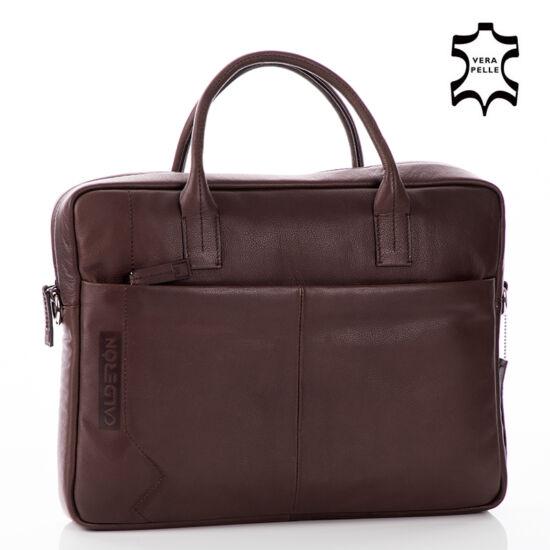 Calderón valódibőr Laptop táska nagy barna