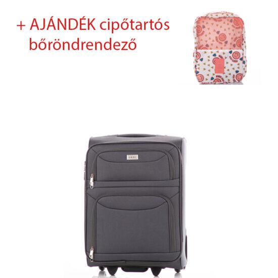 Bőrönd kabin méret 6802 Szürke színben RYANAIR ÚJ WIZZAIR méret + ajándék cipőtartós bőröndrendező