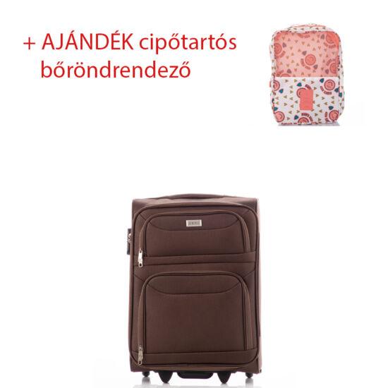 Bőrönd kabin méret 6802 Barna színben RYANAIR ÚJ WIZZAIR méret + ajándék cipőtartós bőröndrendező