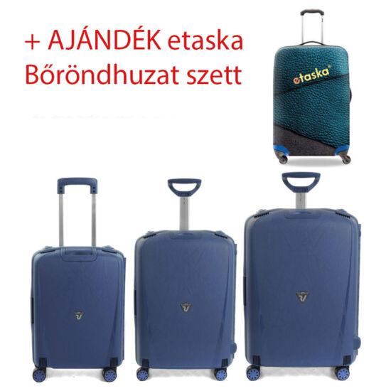 RONCATO LIGHT 4-KEREKES BŐRÖND SZETT 3 DB-OS KÉK + ajándék 3 db-os bőröndhuzat szett